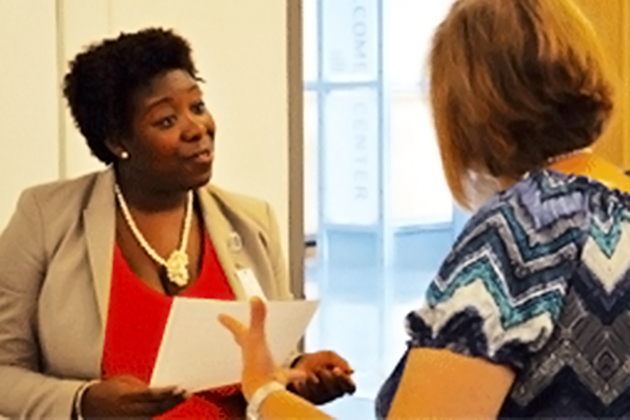 Roshelle Robertson, Montefiore, interviews candidates at a recent Jobs Waiting graduation