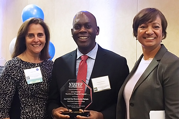 Teresita Wisell, Vice President of Workforce Development & Community Education, Donovan Beckford, Director of the Westchester-Putnam Workforce Development Board, Eridania Camacho, Director of Gateway to Entrepreneurship – G2E