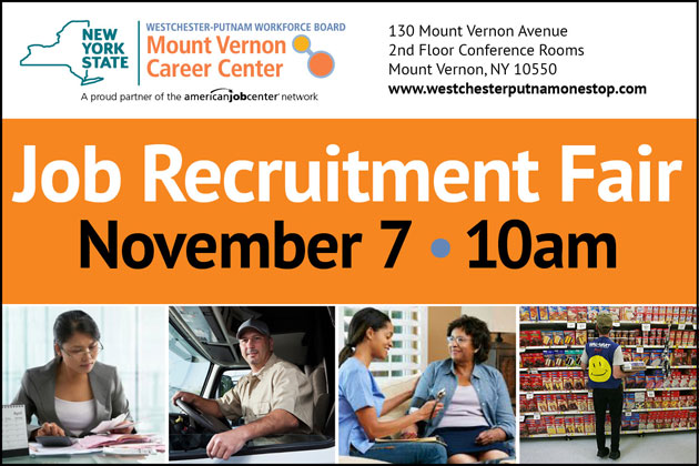 image of graphic with text and small photos for Job Fair November 7